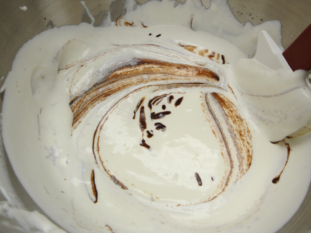 folding whipped cream into chocolate